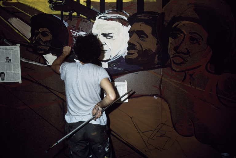 """Free Angela from the """"Murals for the People"""" Exhibition, in progress"""