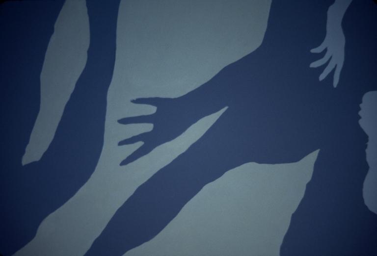Peace Mural, Columbia College, silhouette technique documentation